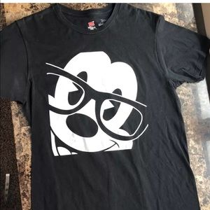 Disney World MICKEY T-Shirt Nerd Glasses Black MED